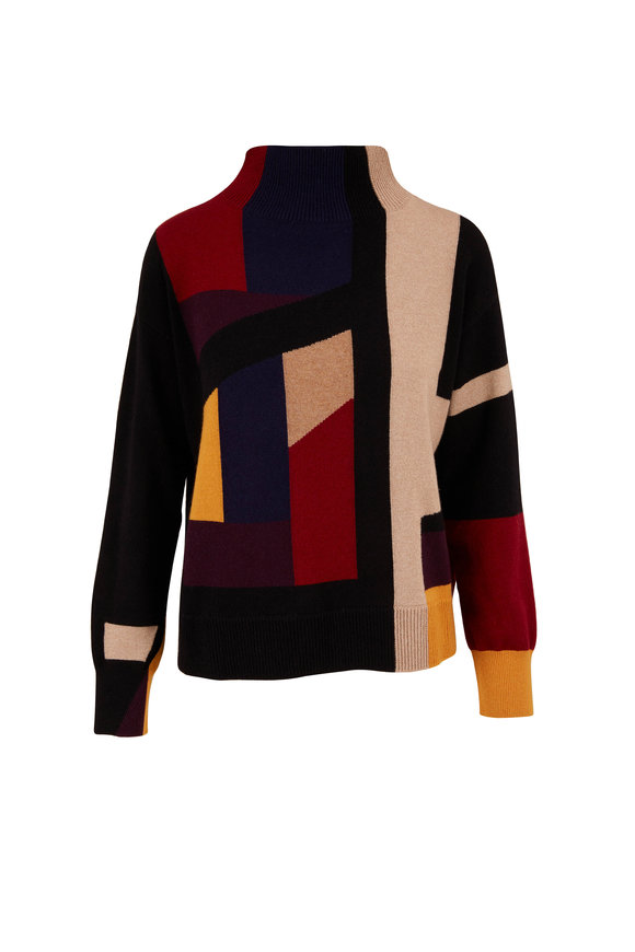 Akris Multicolor Abstract Cashmere Lurex Sweater