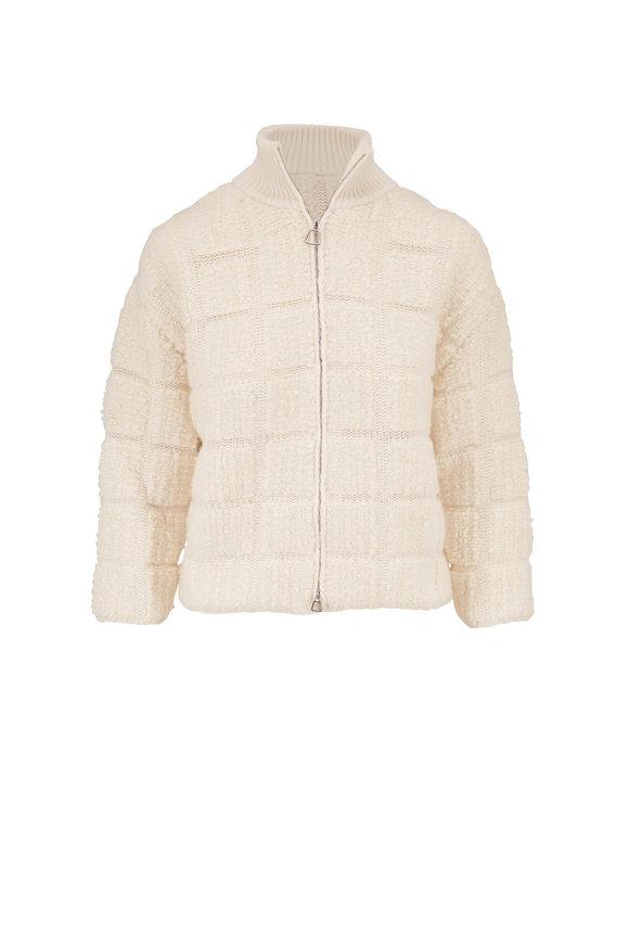 Akris White Knit Bouclé Cropped Jacket