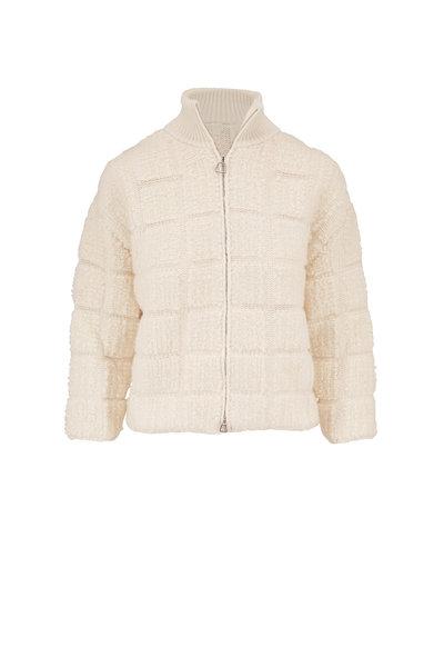 Akris - White Knit Bouclé Cropped Jacket