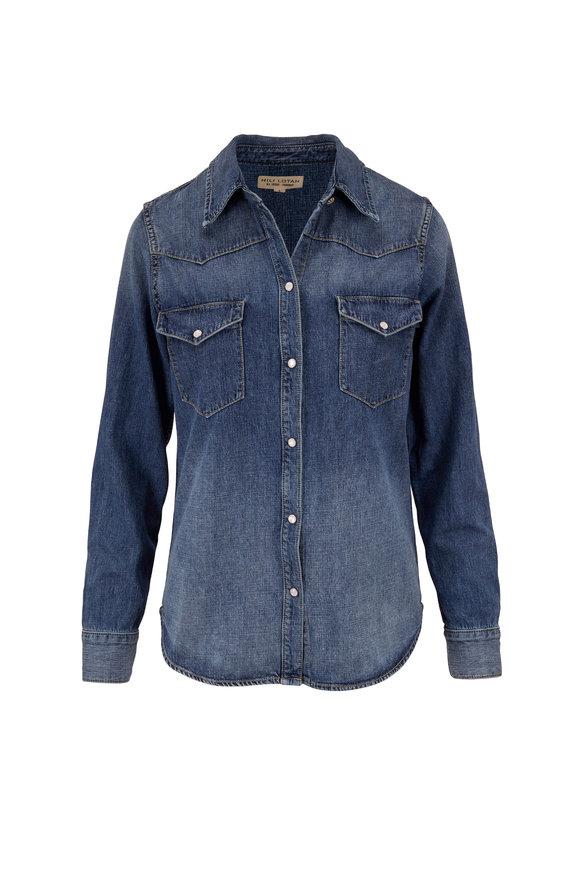 Nili Lotan Travis Classic Wash Front Snap Shirt