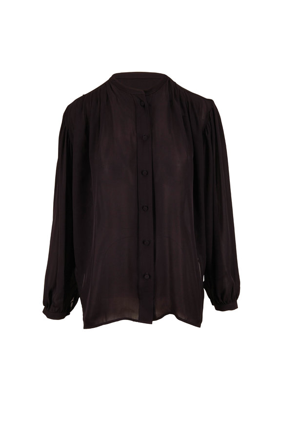 Khaite Denny Black Double Georgette Silk Blouse