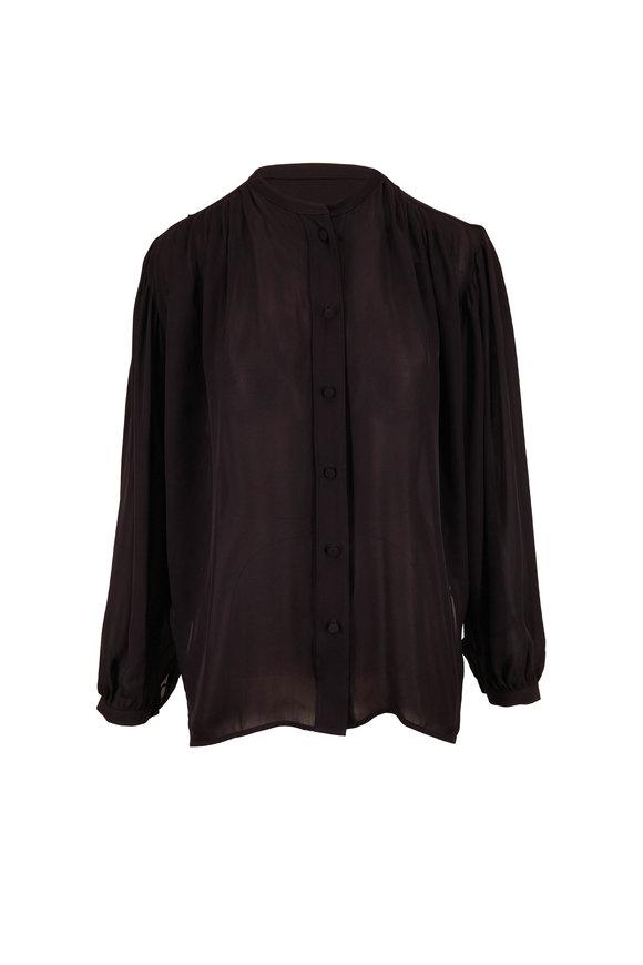 Khaite Denny Black Double Georgette Silk Blouse