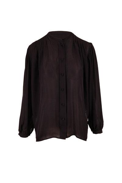 Khaite - Denny Black Double Georgette Silk Blouse
