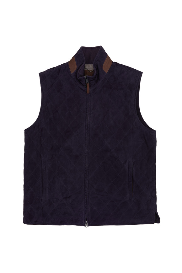 Golden Bear Silverado Navy Blue Quilted Leather Vest