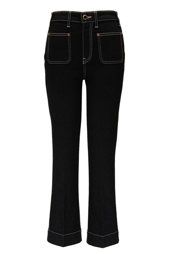 Khaite Raquel Black Patch Pocket Crop Flare Jean