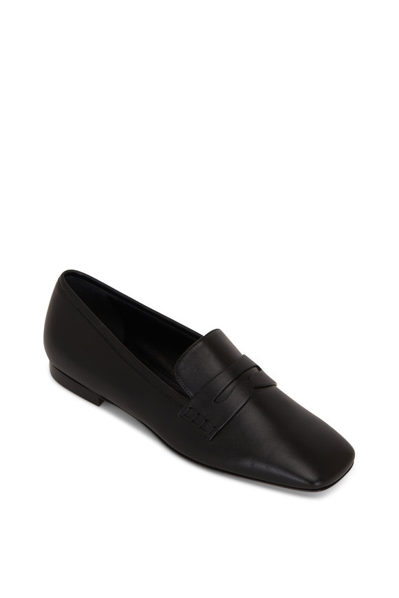 Khaite Carlisle Black Leather Penny Loafer