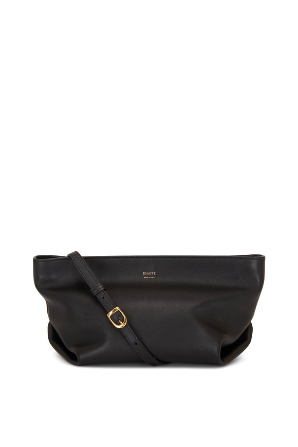 Khaite Adelin Black Leather Envelope Crossbody Bag