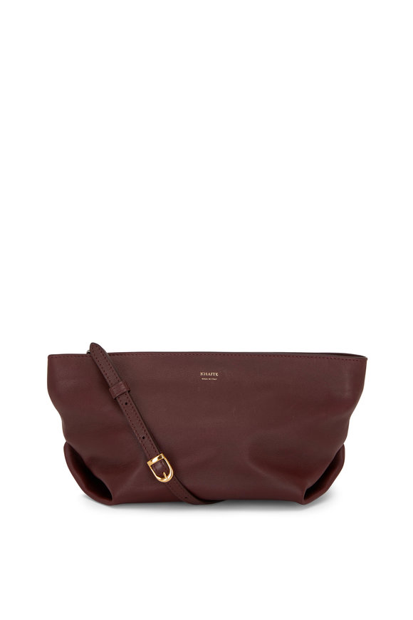 Khaite Adelin Deep Red Leather Envelope Crossbody Bag