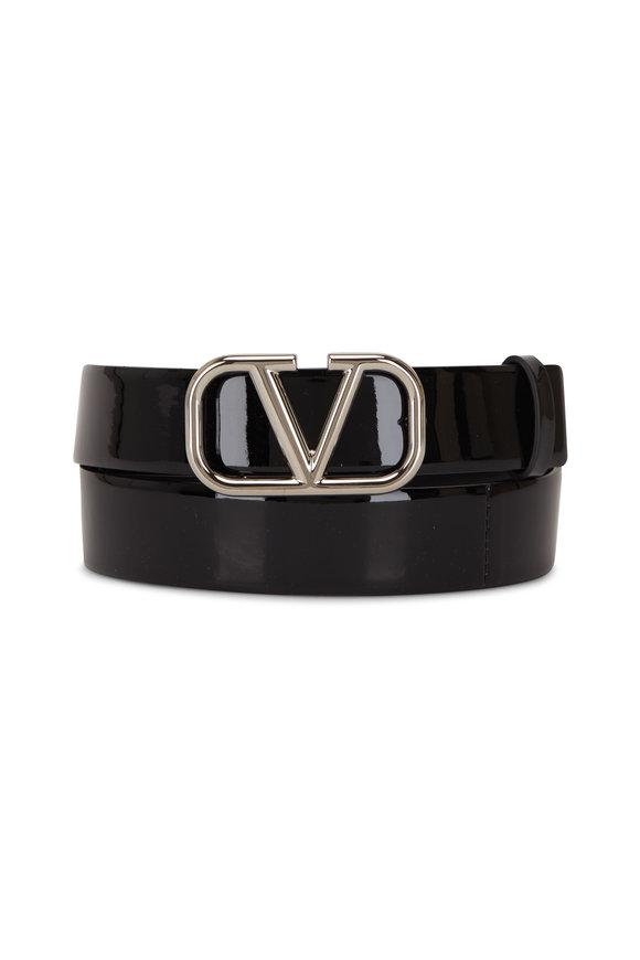 Valentino Garavani VLogo Black Patent Leather Skinny Logo Belt