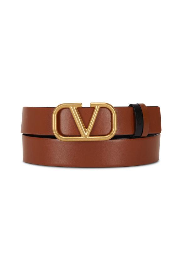 Valentino Garavani VLogo Black & Taupe Leather Logo Reversible Belt