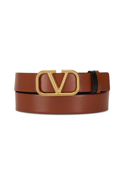 Valentino Garavani - VLogo Black & Taupe Leather Logo Reversible Belt