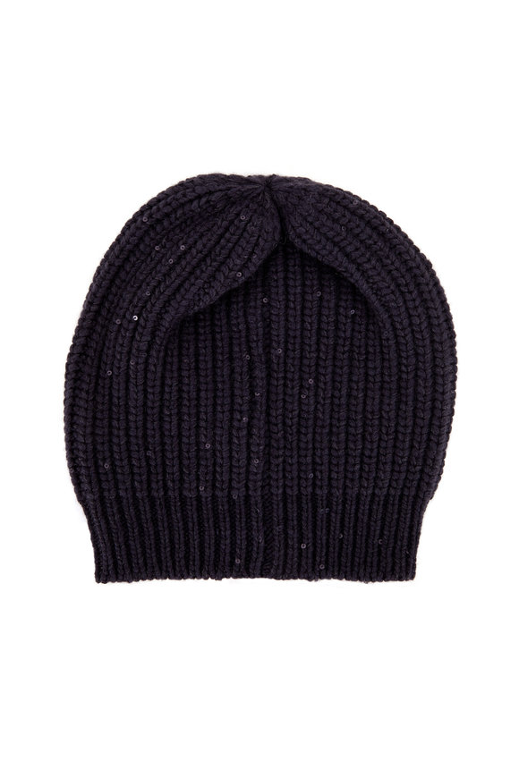 Brunello Cucinelli Navy Blue Paillette English Rib Hat