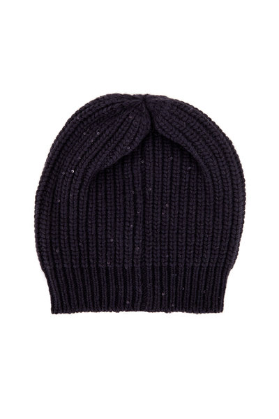 Brunello Cucinelli - Navy Blue Paillette English Rib Hat