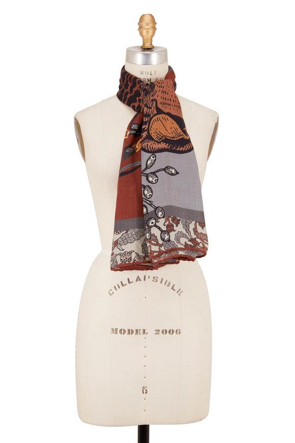 Rani Arabella Brown Leopard & Floral Print Scarf
