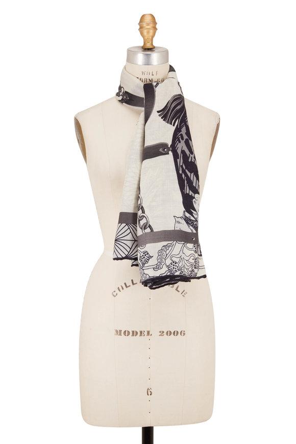 Rani Arabella Black Cashmere, Silk & Wool Leopard Print Scarf