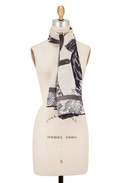 Rani Arabella - Black Cashmere, Silk & Wool Leopard Print Scarf