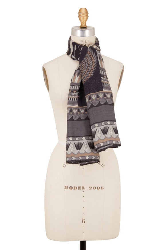 Rani Arabella Black & Gray Egyptian Print Scarf