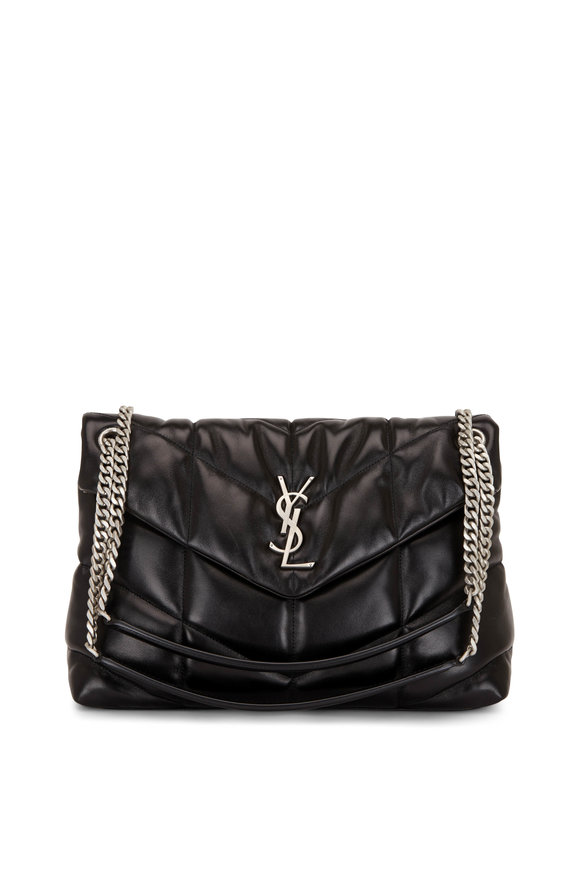 Saint Laurent Lou Lou Black Medium Puffy Shoulder Bag