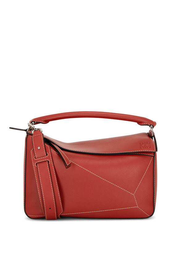 Loewe Puzzle Burnt Red Leather Top Handle Bag