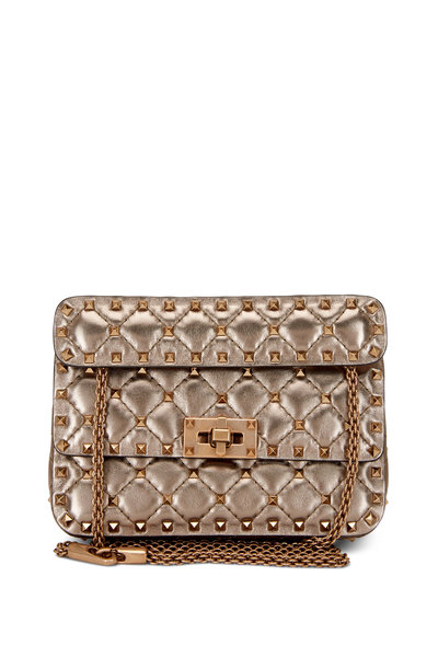 Valentino Garavani - Metallic Sasso Leather Mini Rockstud Shoulder Bag