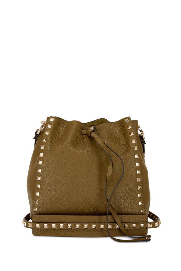 Valentino Garavani Green Pebble Leather Small Rockstud Bucket Bag