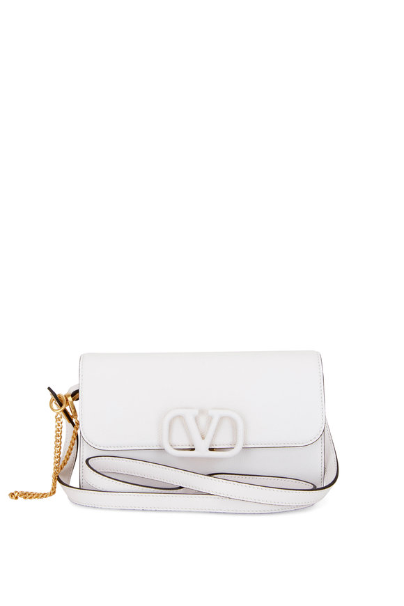 Valentino Garavani V-Sling White Leather Belt Convertible Bag