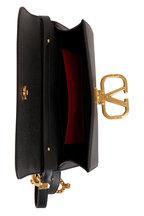 Valentino Garavani - Black Pebble Leather V Logo Belt Convertible Bag
