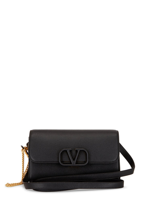 Valentino Garavani Black Pebble Leather V Logo Belt Convertible Bag