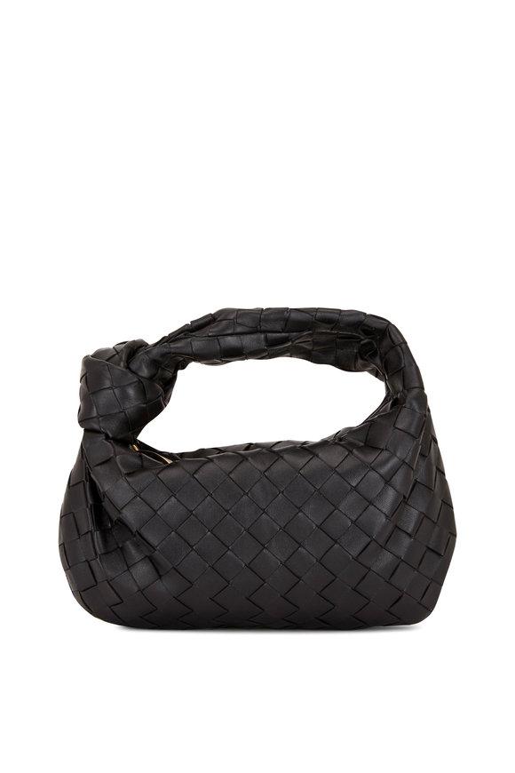 Bottega Veneta Jodie Black Leather Intrecciato Small Hobo Bag