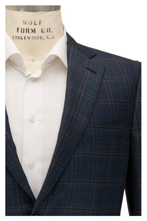 Brioni Teal Green Windowpane Wool Sportcoat