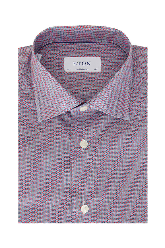 Eton Red & Blue Geometric Contemporary Fit Sport Shirt