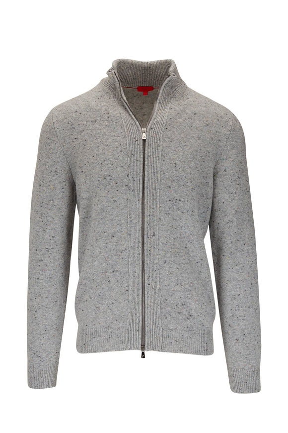 Isaia Gray Stretch Cashmere Front Zip Cardigan