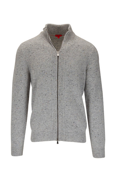 Isaia - Gray Stretch Cashmere Front Zip Cardigan