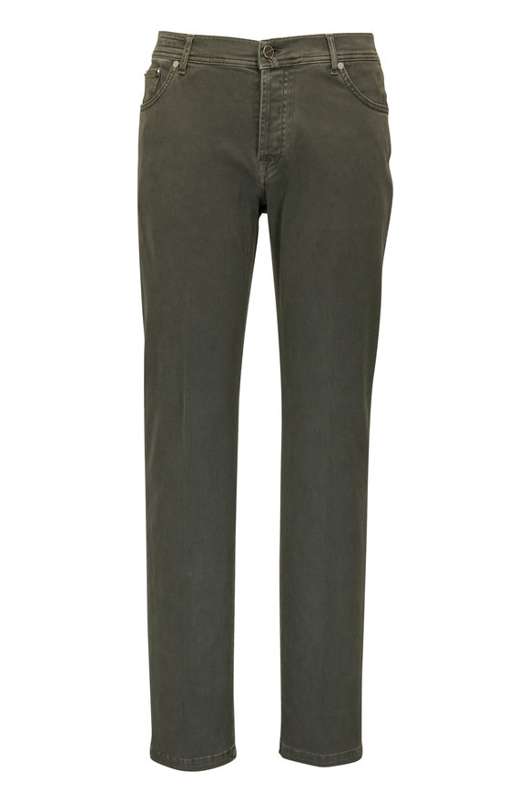 Kiton Olive Stretch Cotton Slim Fit Jean