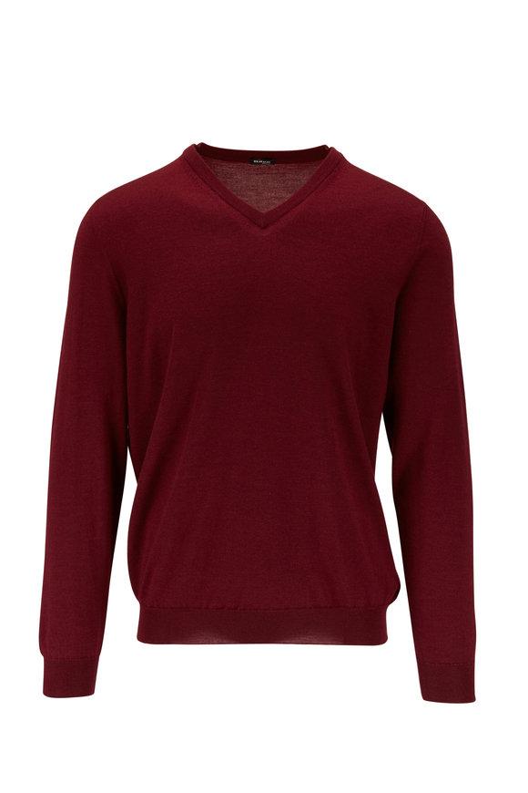 Kiton Burgundy Cashmere & Silk V-Neck Pullover