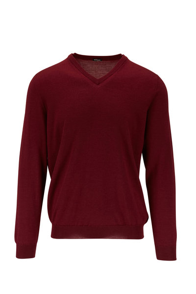 Kiton - Burgundy Cashmere & Silk V-Neck Pullover
