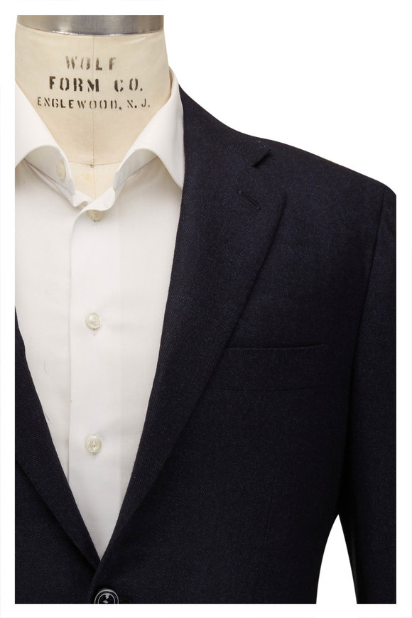 Kiton Solid Navy Cashmere Suit