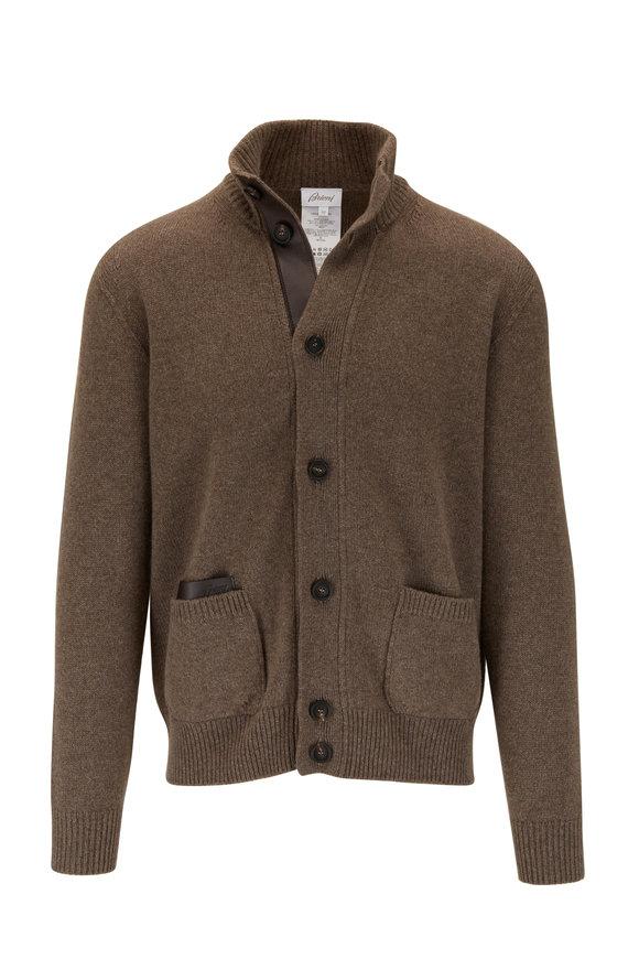 Brioni Brown Cashmere & Leather Trim Cardigan