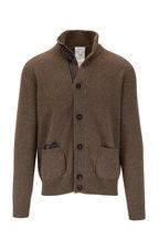 Brioni - Brown Cashmere & Leather Trim Cardigan