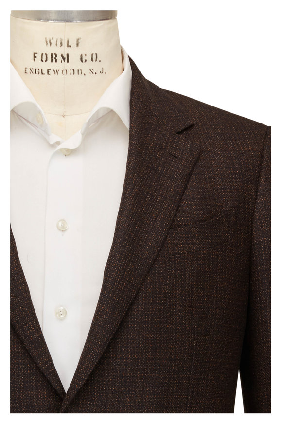 Ermenegildo Zegna Brown & Orange Textured Wool Sportcoat