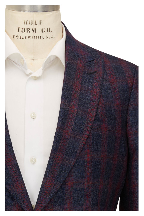 Etro Blue & Red Plaid Wool Suit