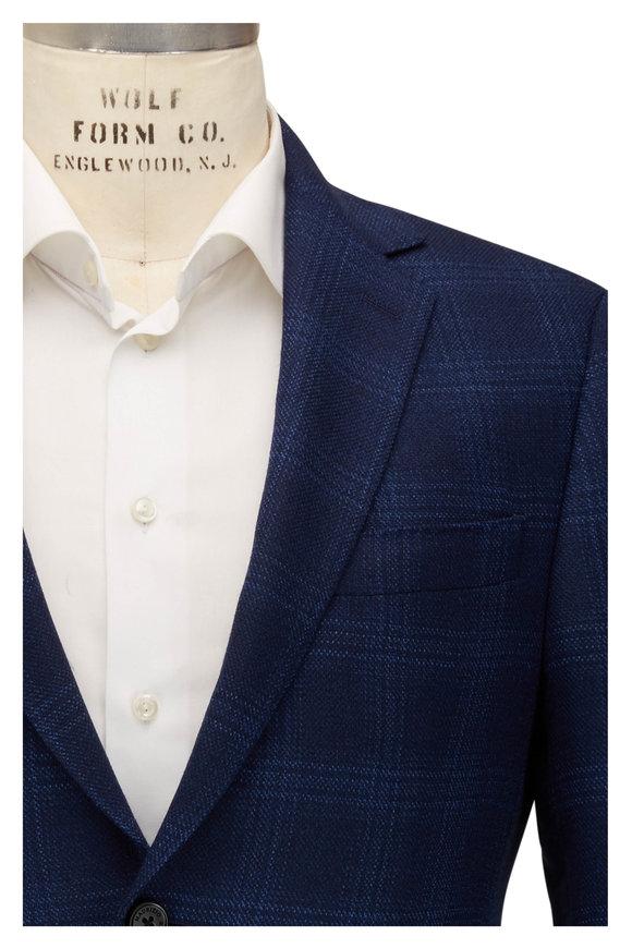 Maurizio Baldassari Blue Tonal Plaid Wool Sportcoat