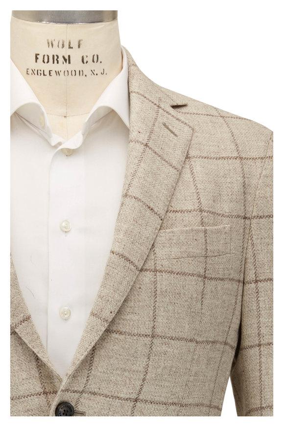 Maurizio Baldassari Brera Cream Windowpane Wool & Cashmere Sportcoat