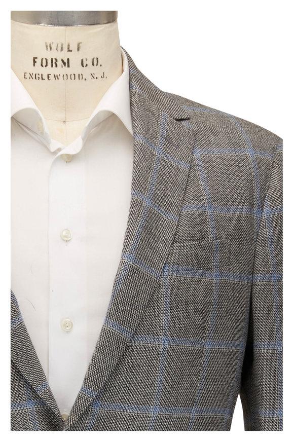Maurizio Baldassari Brera Gray & Blue Windowpane Wool Sportcoat