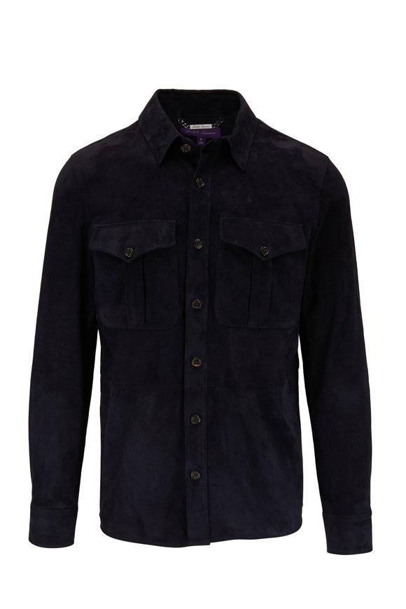 Ralph Lauren Barron Navy Lux Suede Button Front Jacket