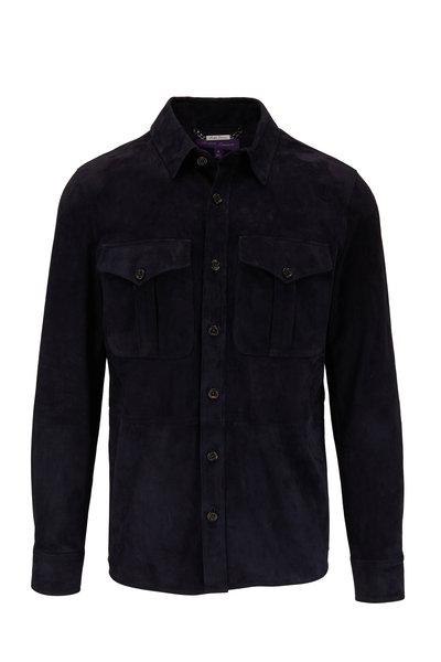 Ralph Lauren - Barron Navy Lux Suede Button Front Jacket