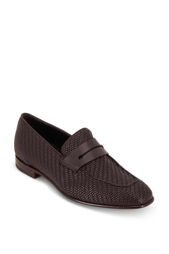 Ermenegildo Zegna L'Asola Brown Woven Leather Penny Loafer