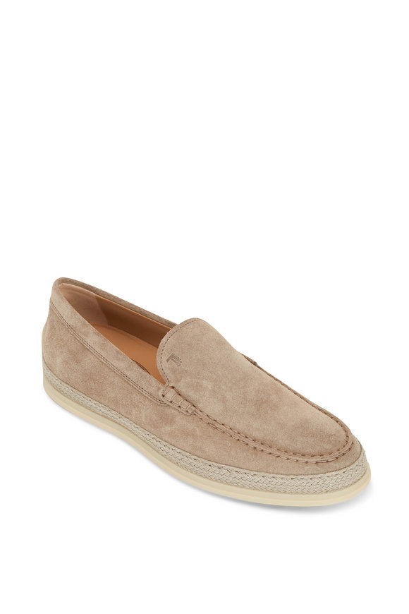 Tod's Gomma Raffia Taupe Suede Espadrille