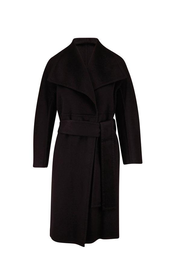 Vince Black Wool & Cashmere Drape Front Coat