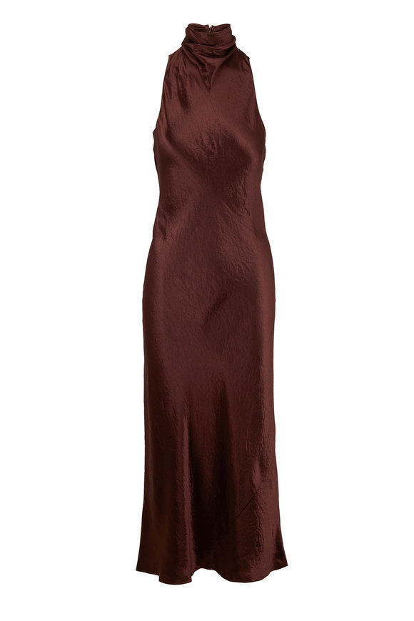 Vince Brown Satin Turtleneck Sleeveless Dress